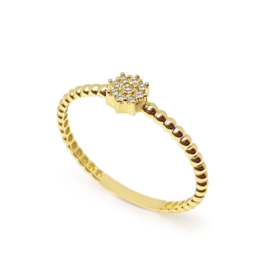 Anel Octogono Ouro 18k com 9 Diamantes