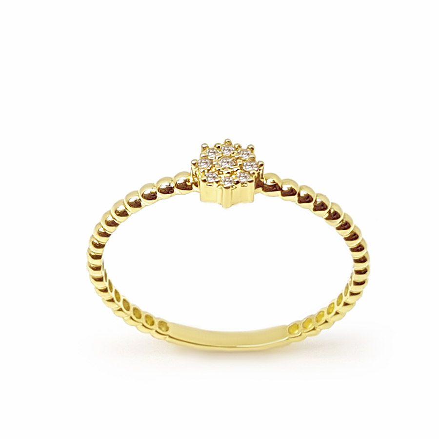 Anel Octogono Ouro 18k com 9 Diamantes   - YVES