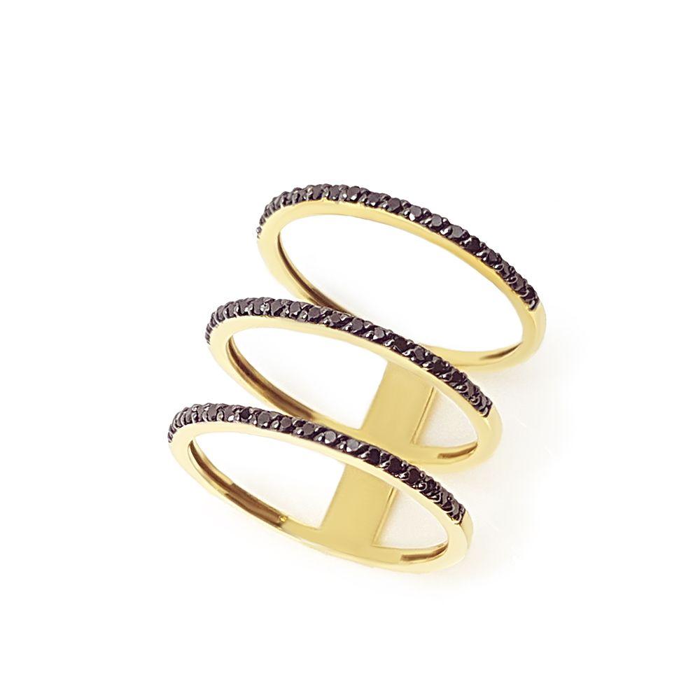 Anel Ouro 18k 3 aros com 57 Diamantes Negro