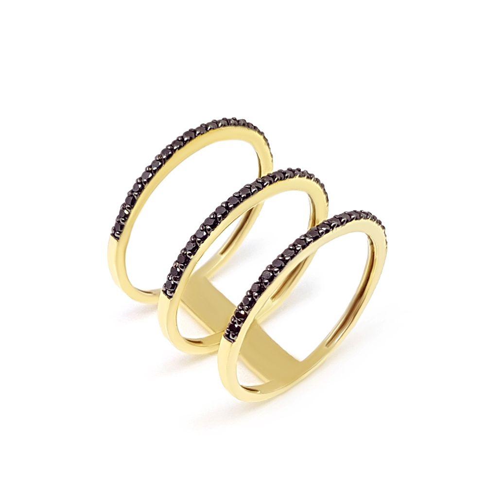 Anel Ouro 18k 3 aros com 57 Diamantes Negro  - YVES