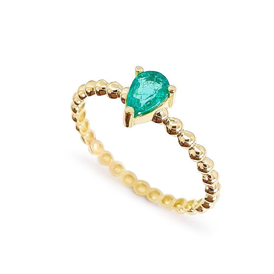 Anel Ouro 18k Bolinha com Gota de Esmeralda