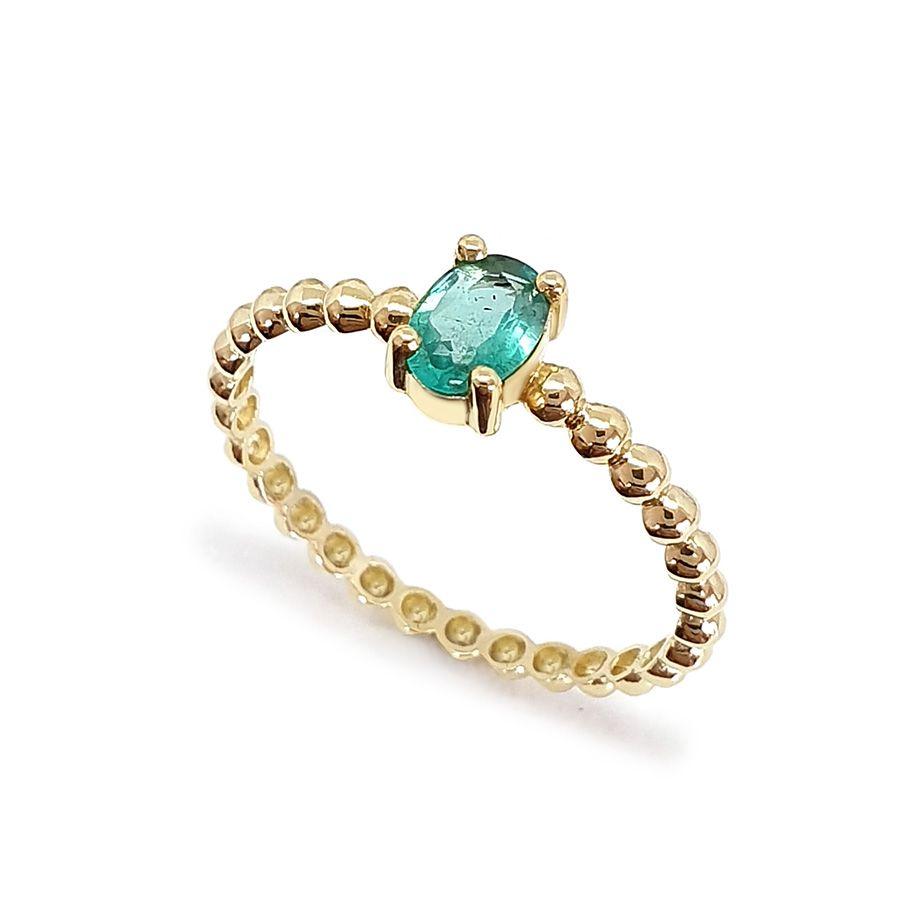 Anel Ouro 18k Bolinha com Esmeralda Oval