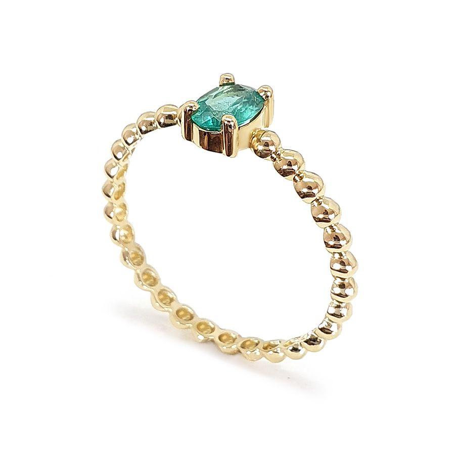 Anel Ouro 18k Bolinha com Esmeralda Oval  - YVES