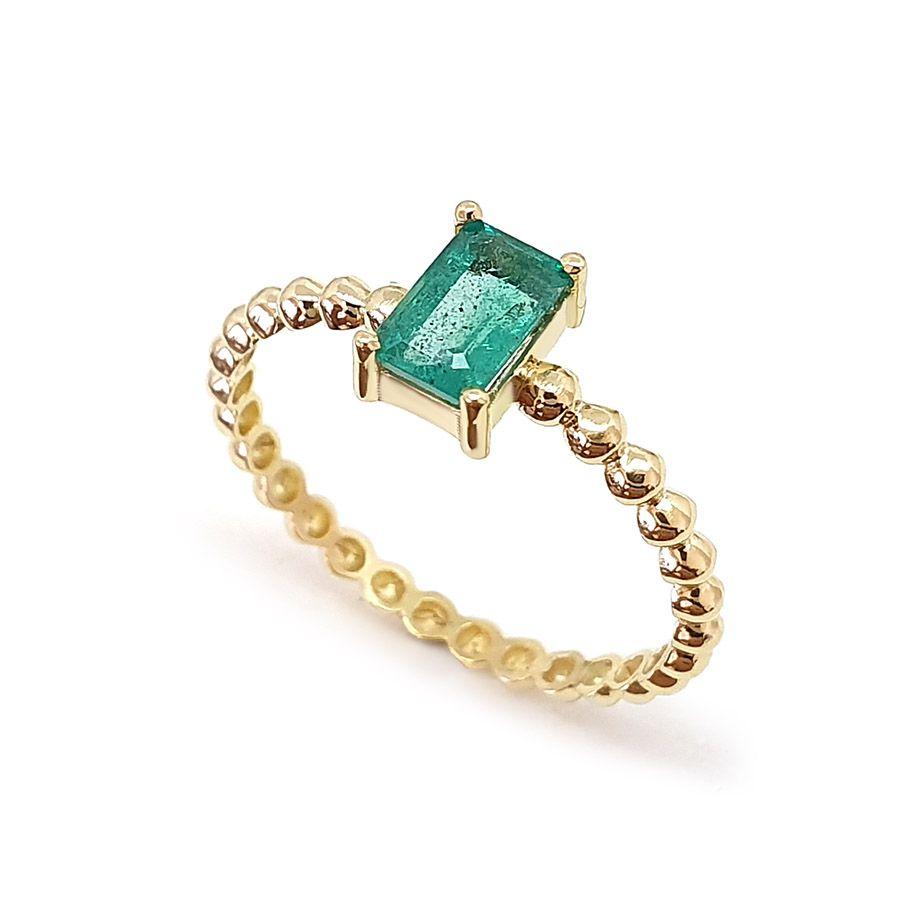 Anel Ouro 18k Bolinha com Esmeralda Retangular