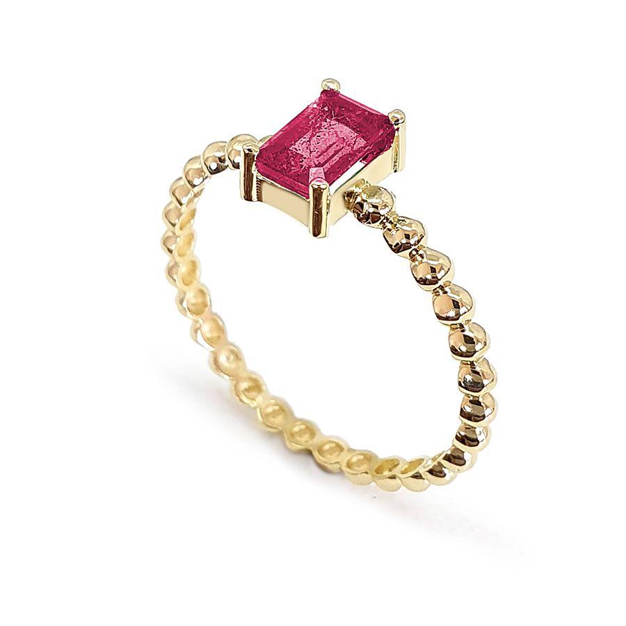 Anel Ouro 18k Bolinha com Rubi Retangular  - YVES