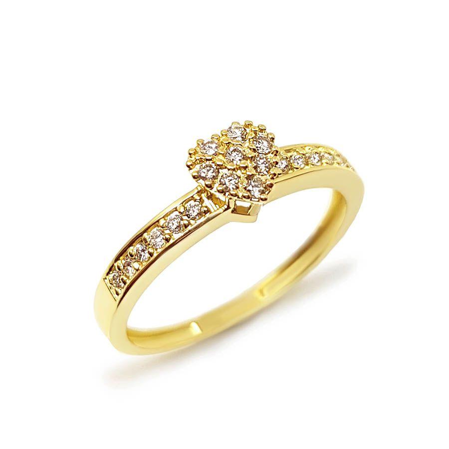 Anel Ouro 18k Chuveiro Coração com Diamantes