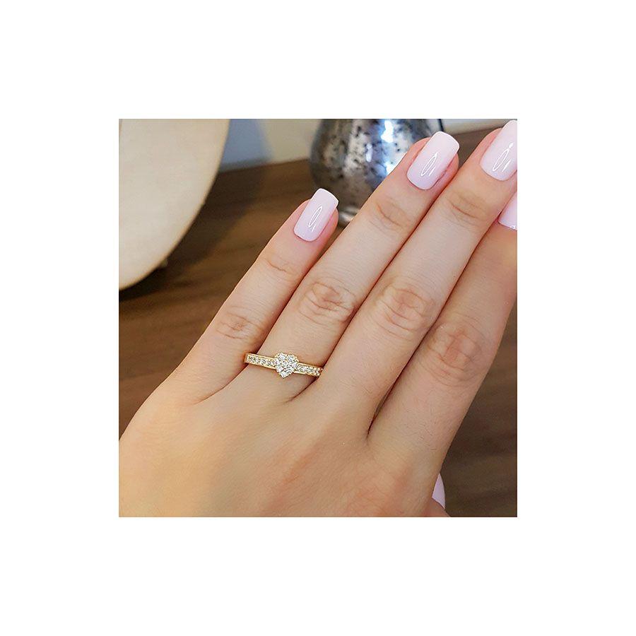 Anel Ouro 18k Chuveiro Coração com Diamantes   - YVES