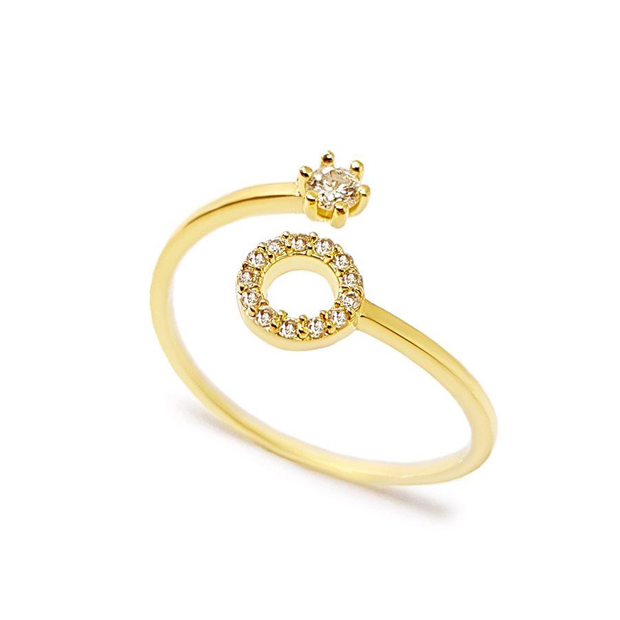 Anel Ouro 18k Circulo com Diamantes