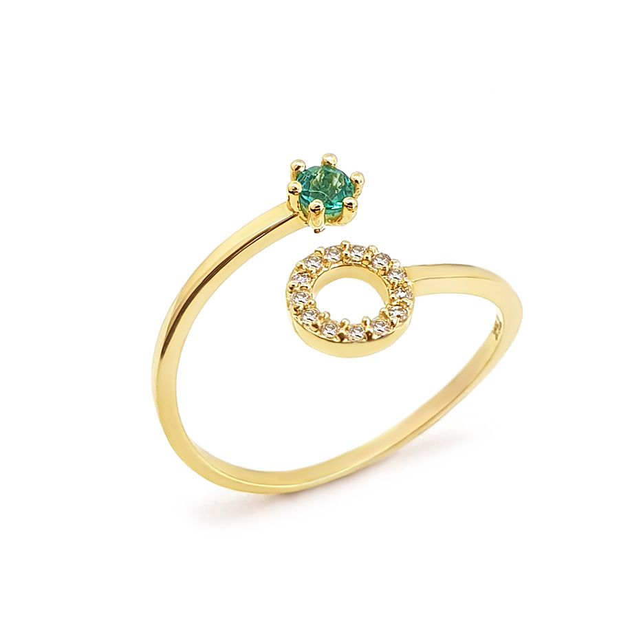 Anel Ouro 18k Circulo com Diamantes e Esmeralda  - YVES