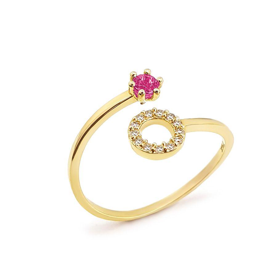 Anel Ouro 18k Circulo com Diamantes e Rubi