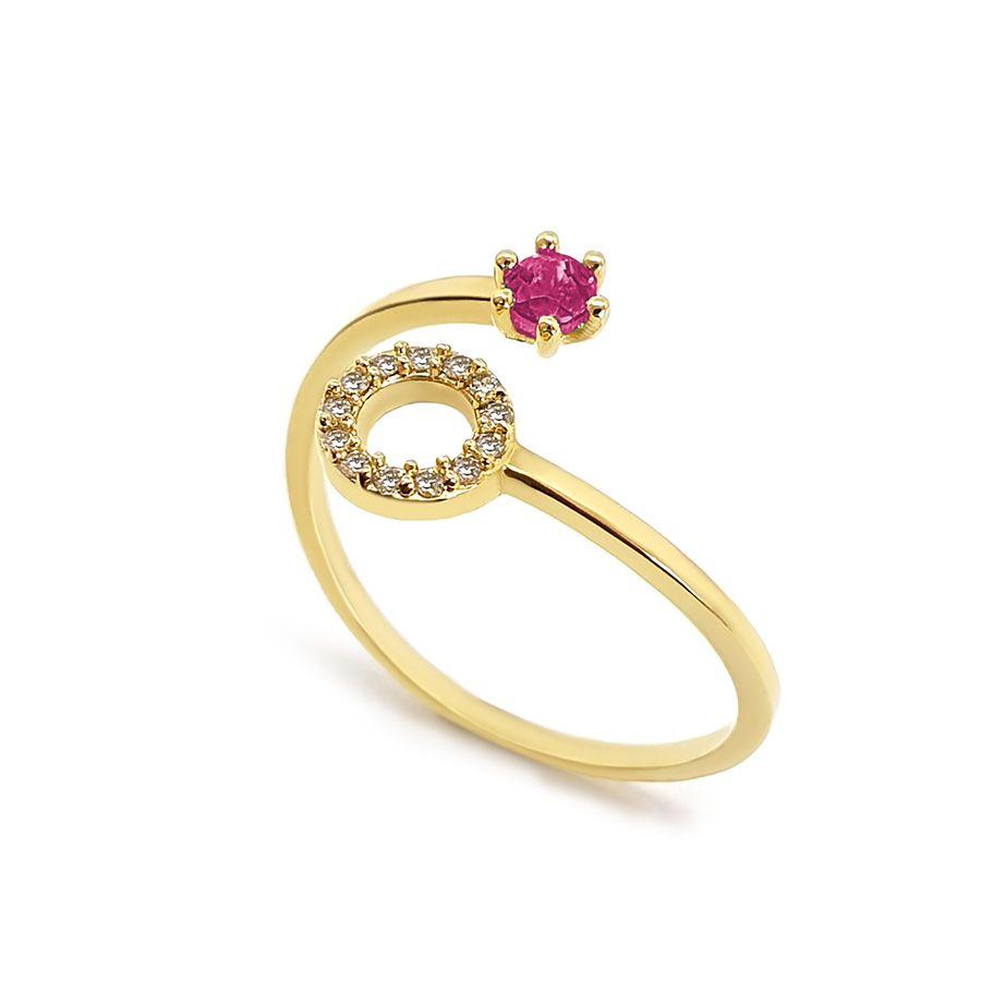 Anel Ouro 18k Circulo com Diamantes e Rubi  - YVES
