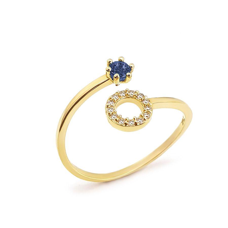Anel Ouro 18k Circulo com Diamantes e Safira