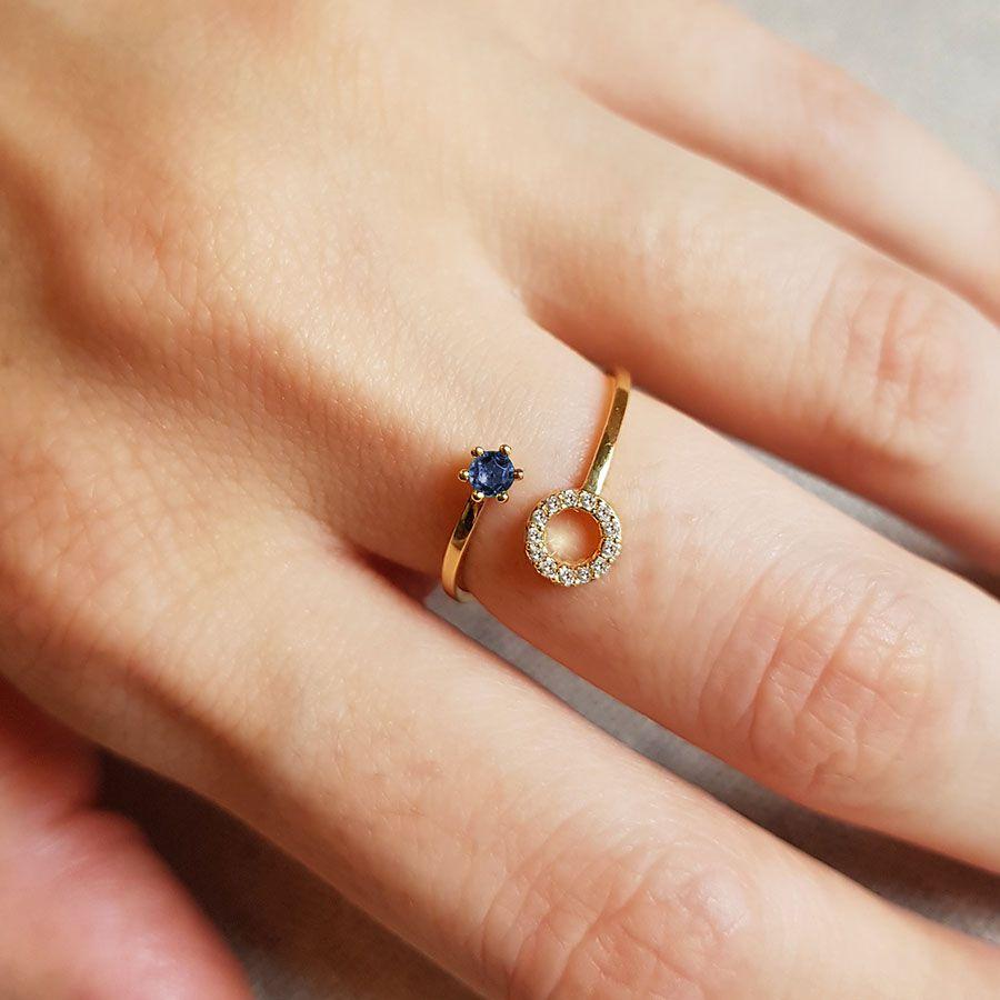 Anel Ouro 18k Circulo com Diamantes e Safira  - YVES