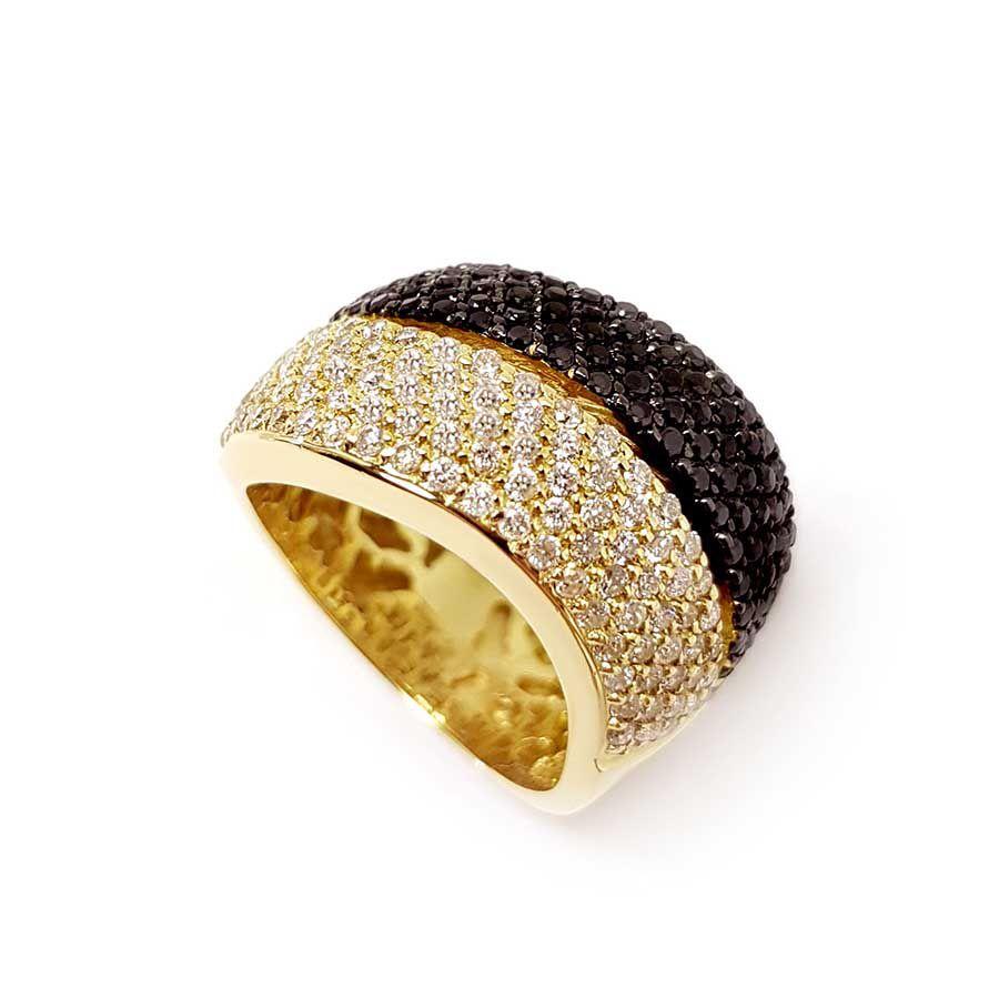Anel Ouro 18k com 101 Diamantes e 101 Diamantes Negro