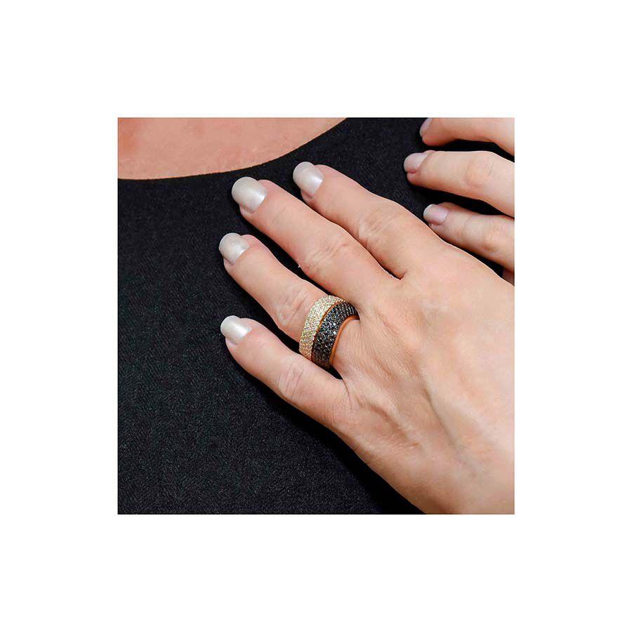 Anel Ouro 18k com 101 Diamantes e 101 Diamantes Negro  - YVES