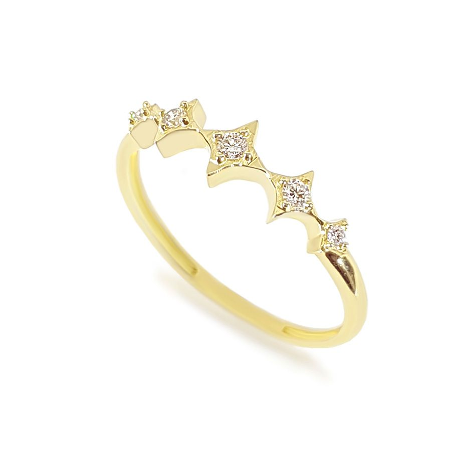 Anel Ouro 18k com 10 pontos em diamantes