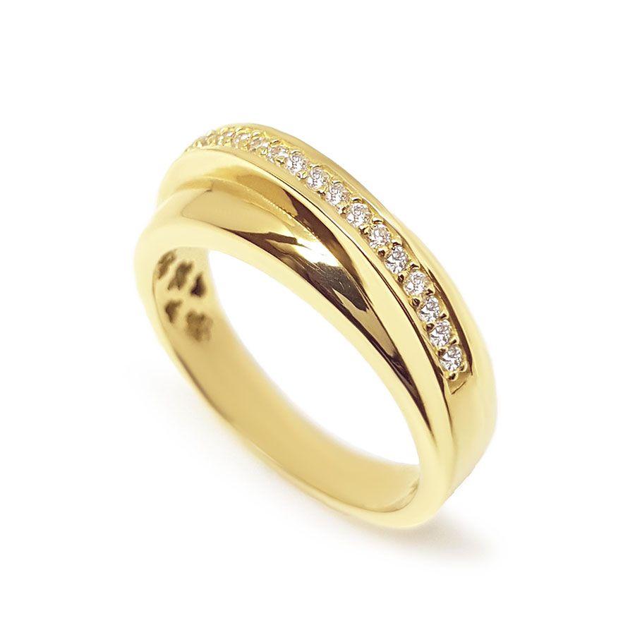 Anel Ouro 18k com 17 Diamantes
