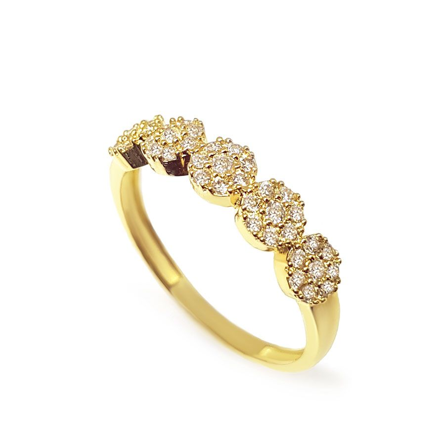 Anel Ouro 18k com 40 Diamantes