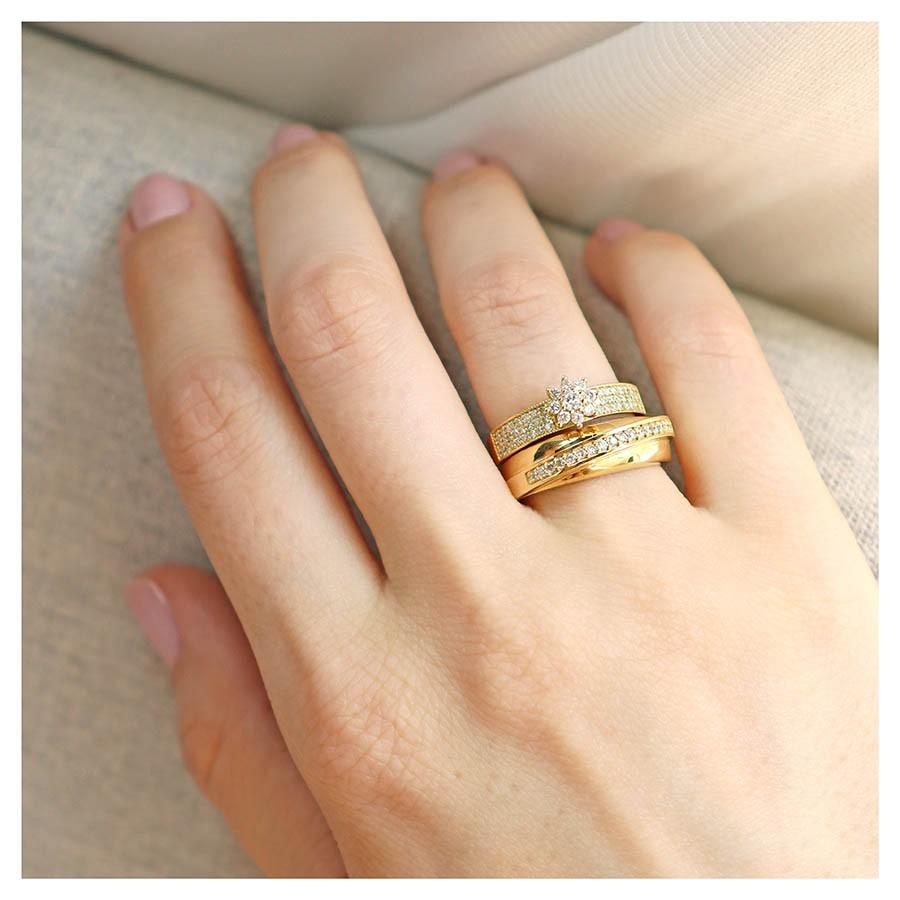 Anel Ouro 18k com 57 diamantes  - YVES