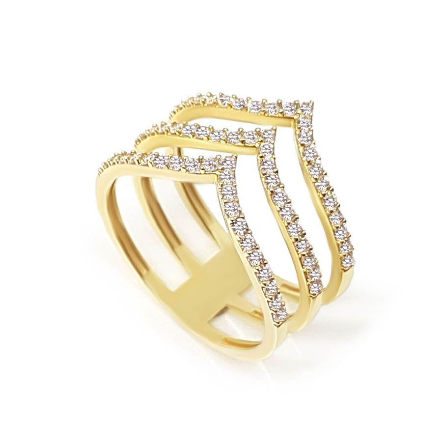 Anel Ouro 18k com 63 Diamantes