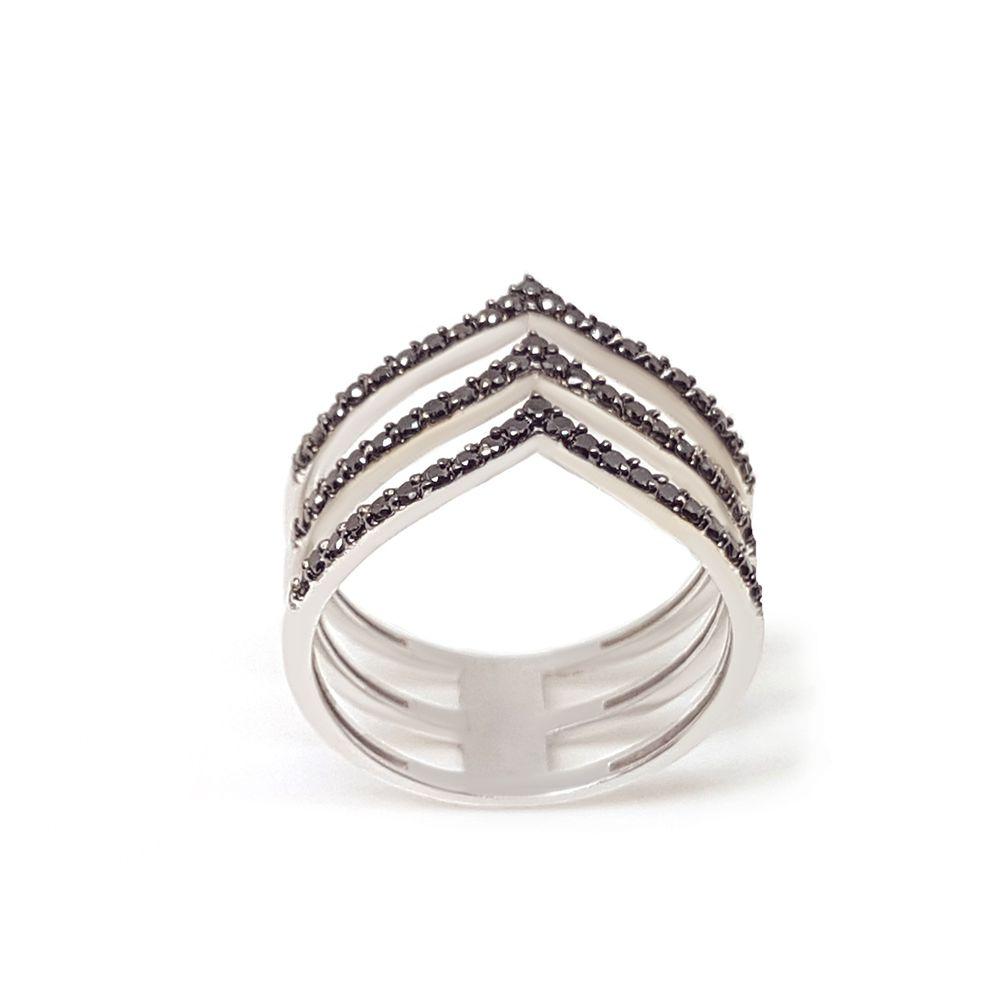 Anel Ouro 18k com 63 Diamantes Negro  - YVES