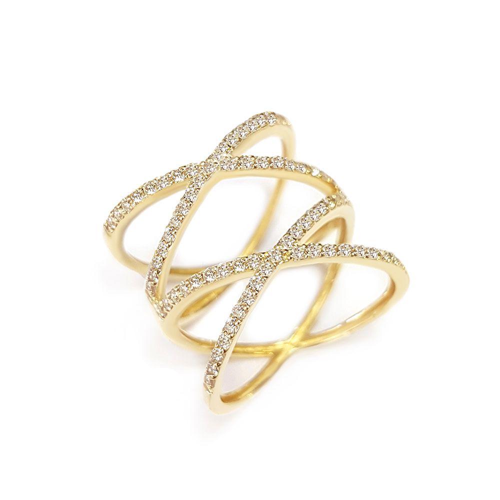 Anel Ouro 18k com 74 diamantes