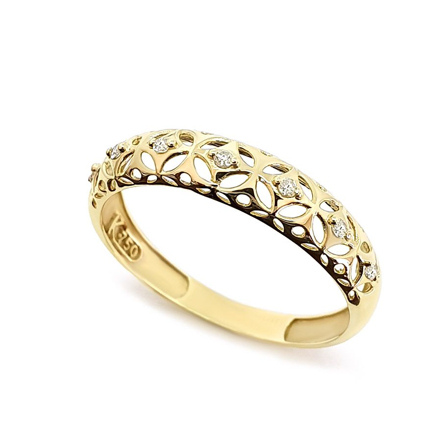Anel Ouro 18k Vazado com 7 Diamantes