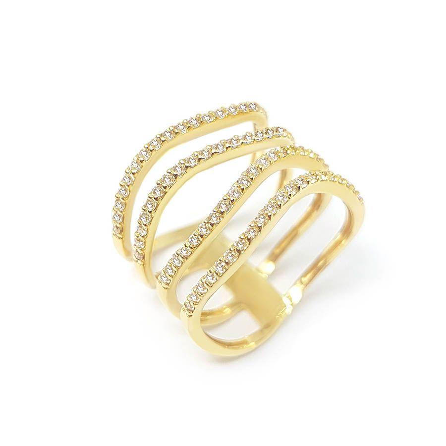 Anel Ouro 18k com 80 Diamantes
