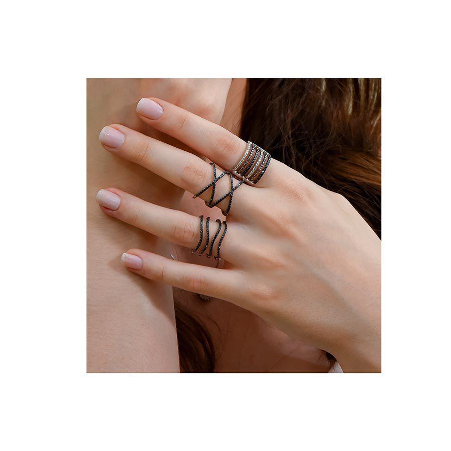 Anel Ouro 18k com 80 Diamantes Negro  - YVES