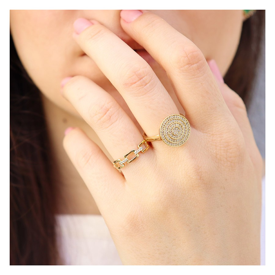 Anel Ouro 18k com 8 Diamantes  - YVES