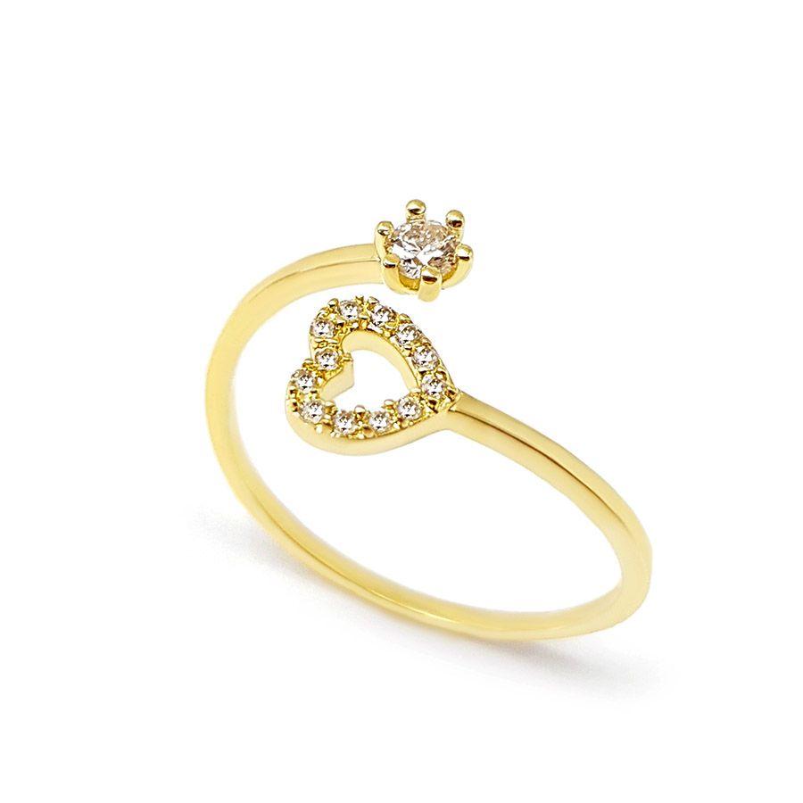 Anel Ouro 18k com Coração com Diamantes