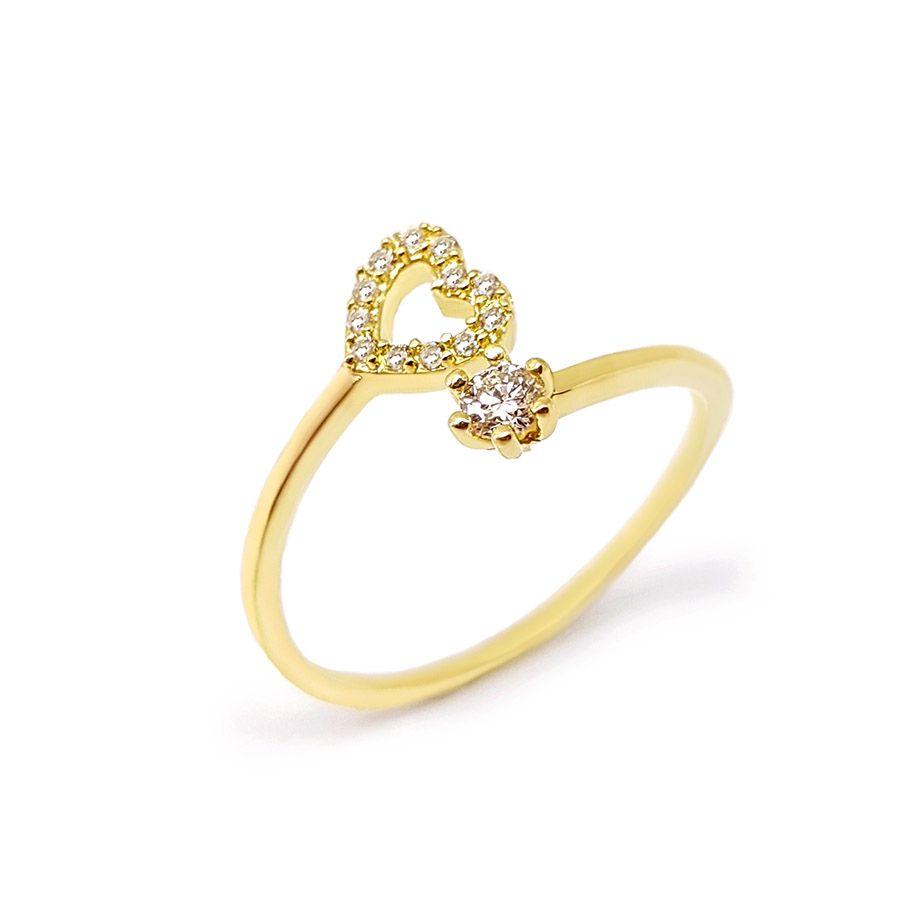 Anel Ouro 18k com Coração com Diamantes   - YVES