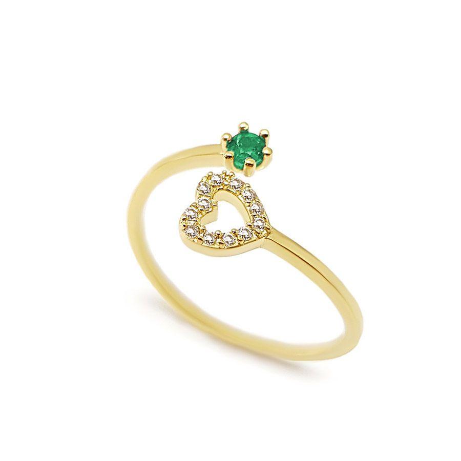 Anel Ouro 18k com Coração com Diamantes e Esmeralda