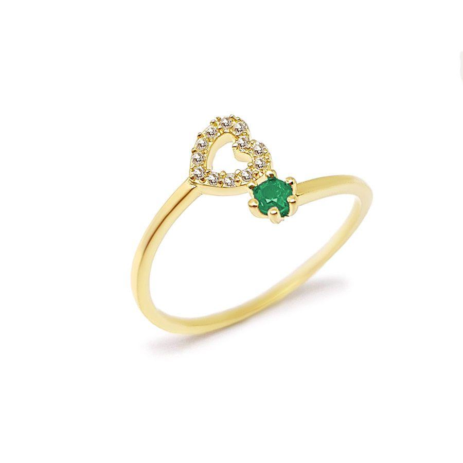 Anel Ouro 18k com Coração com Diamantes e Esmeralda  - YVES