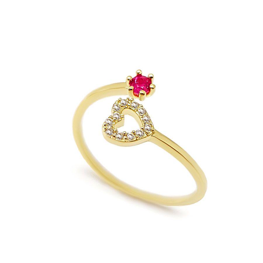 Anel Ouro 18k com Coração com Diamantes e Rubi