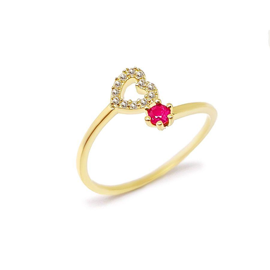 Anel Ouro 18k com Coração com Diamantes e Rubi  - YVES