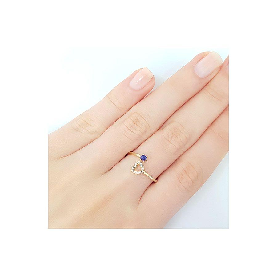 Anel Ouro 18k com Coração com Diamantes e Safira  - YVES