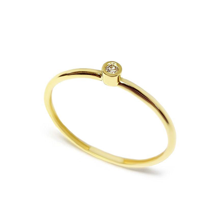 Anel Ouro 18k com Diamante de 2 pontos