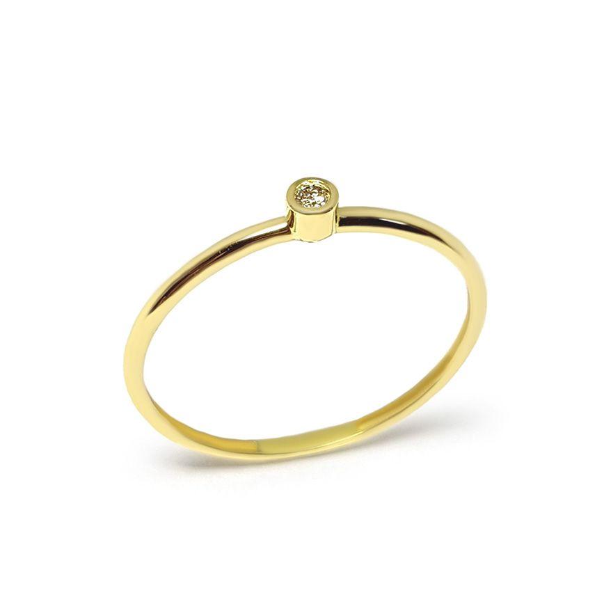 Anel Ouro 18k com Diamante de 2 pontos   - YVES
