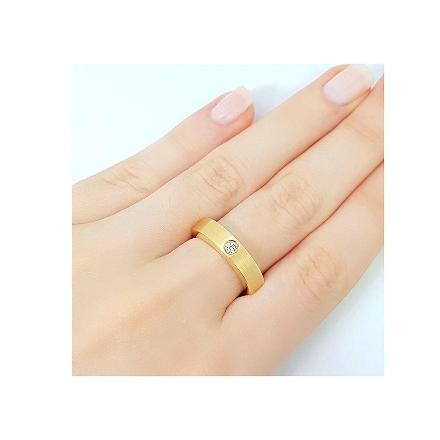 Anel Ouro 18k com Diamante de 8 pontos   - YVES