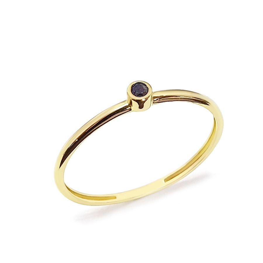 Anel Ouro 18k com Diamante Negro de 2 pontos