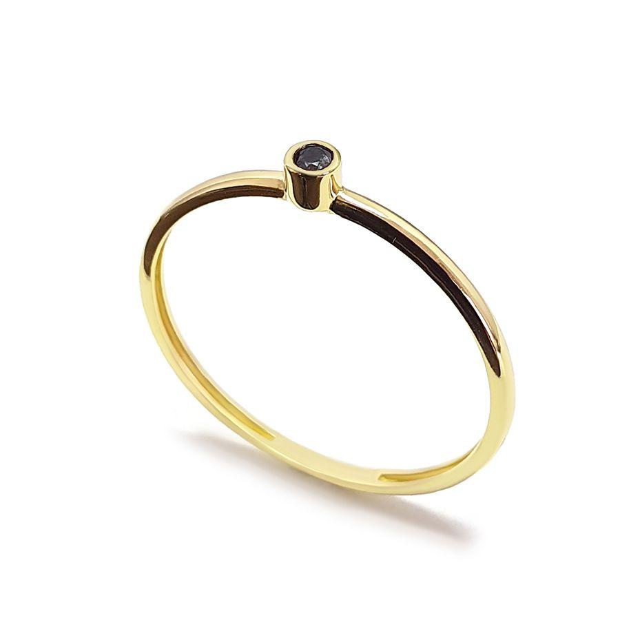 Anel Ouro 18k com Diamante Negro de 2 pontos   - YVES