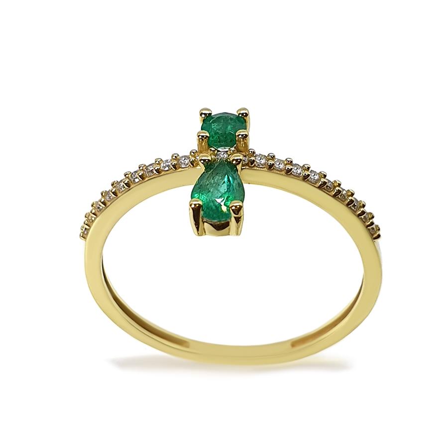 Anel Flowing Ouro 18k com Diamantes e 2 Esmeraldas  - YVES