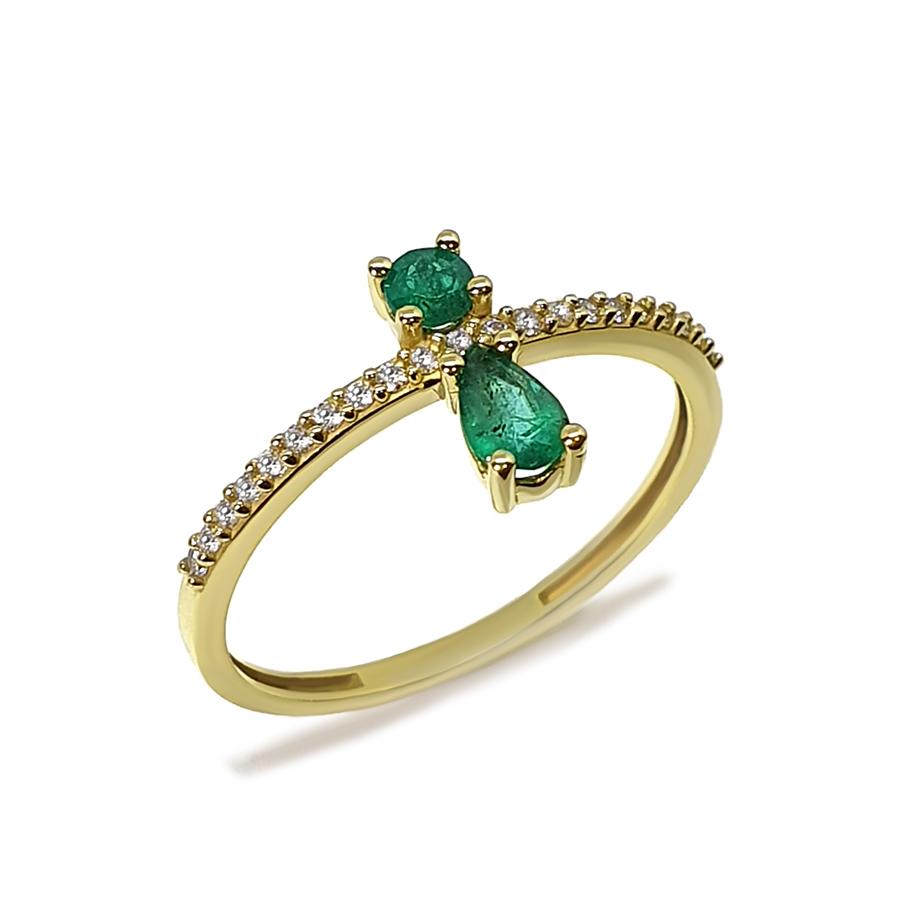 Anel Flowing Ouro 18k com Diamantes e 2 Esmeraldas