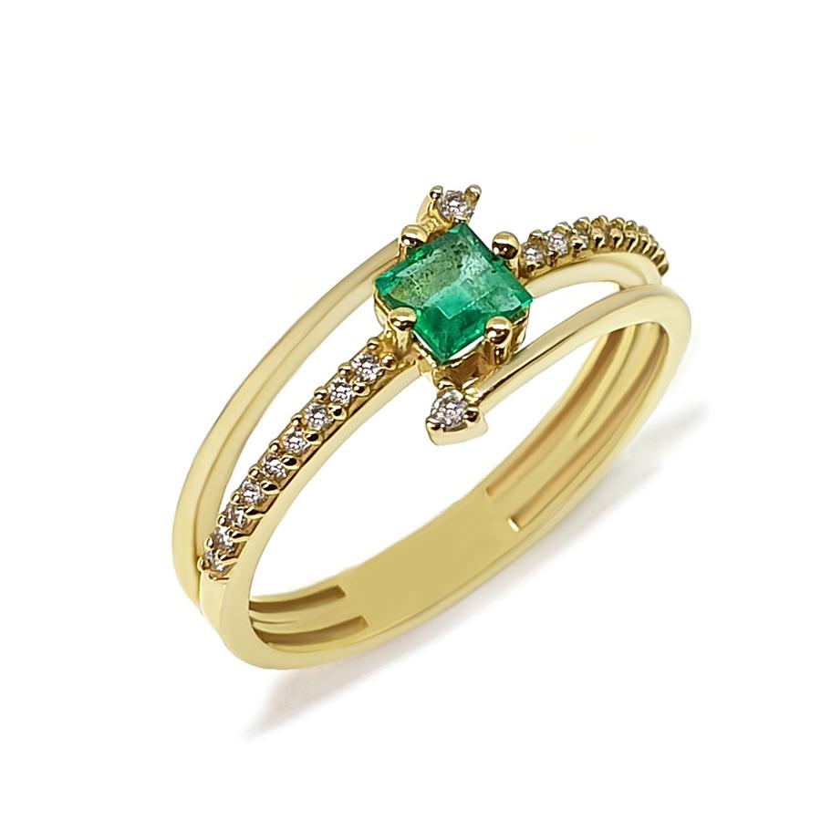 Anel Flowing Ouro 18k com Diamantes e Esmeralda Quadrada