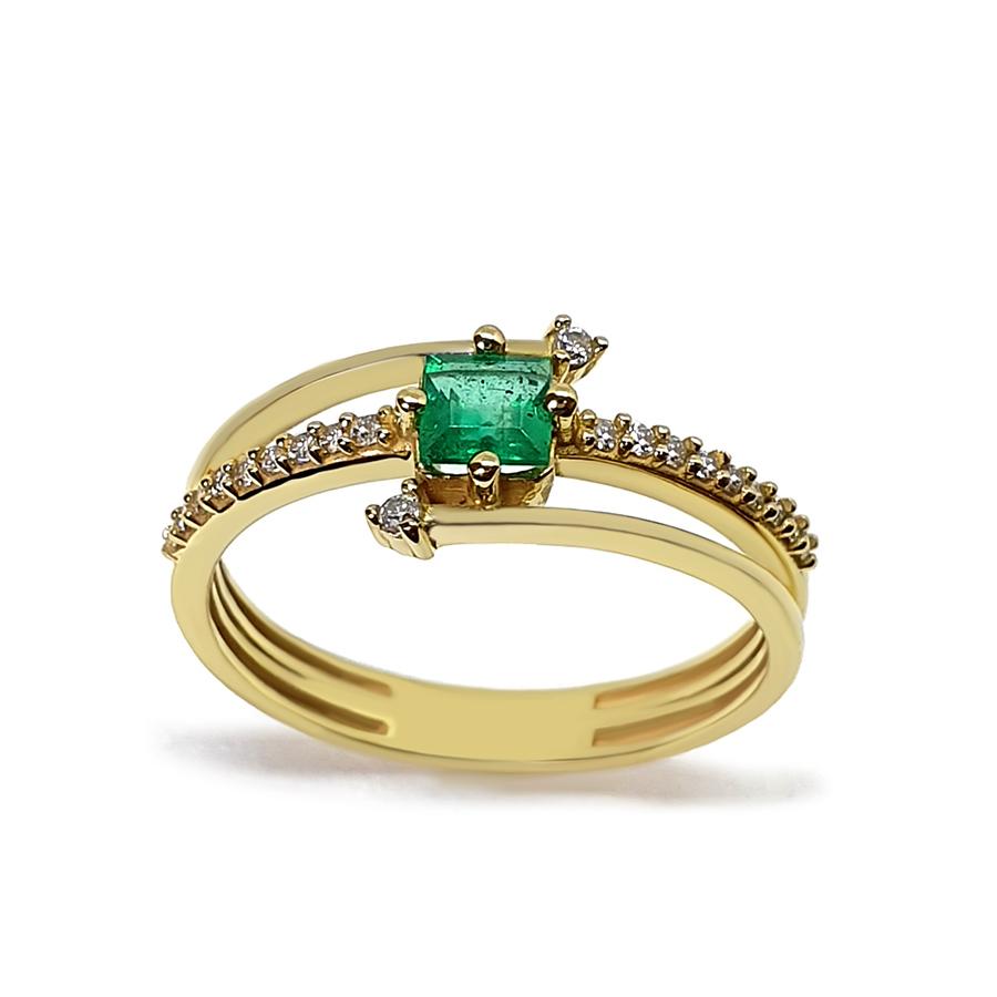 Anel Flowing Ouro 18k com Diamantes e Esmeralda Quadrada  - YVES