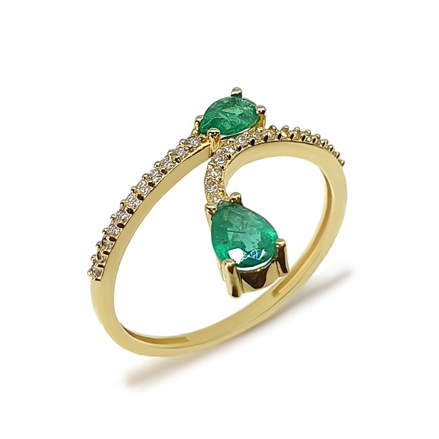 Anel Flowing Ouro 18k com Diamantes e Gotas de Esmeralda