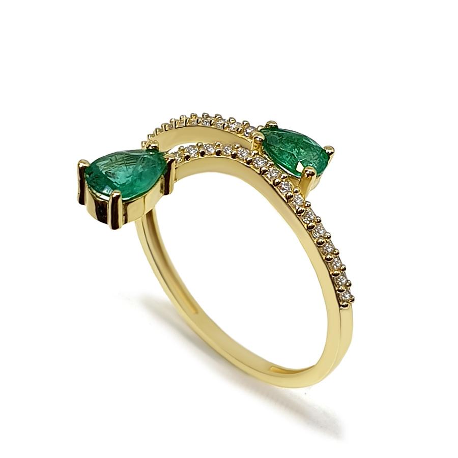 Anel Flowing Ouro 18k com Diamantes e Gotas de Esmeralda  - YVES