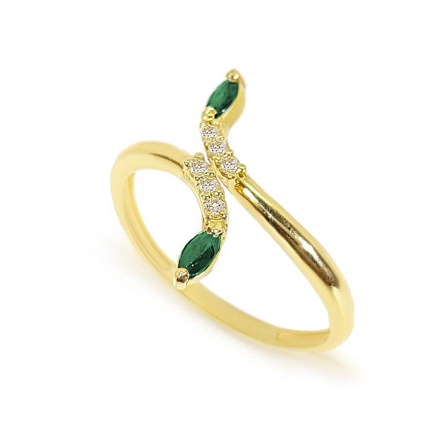 Anel Ouro 18k com Diamantes e Navete de Esmeralda