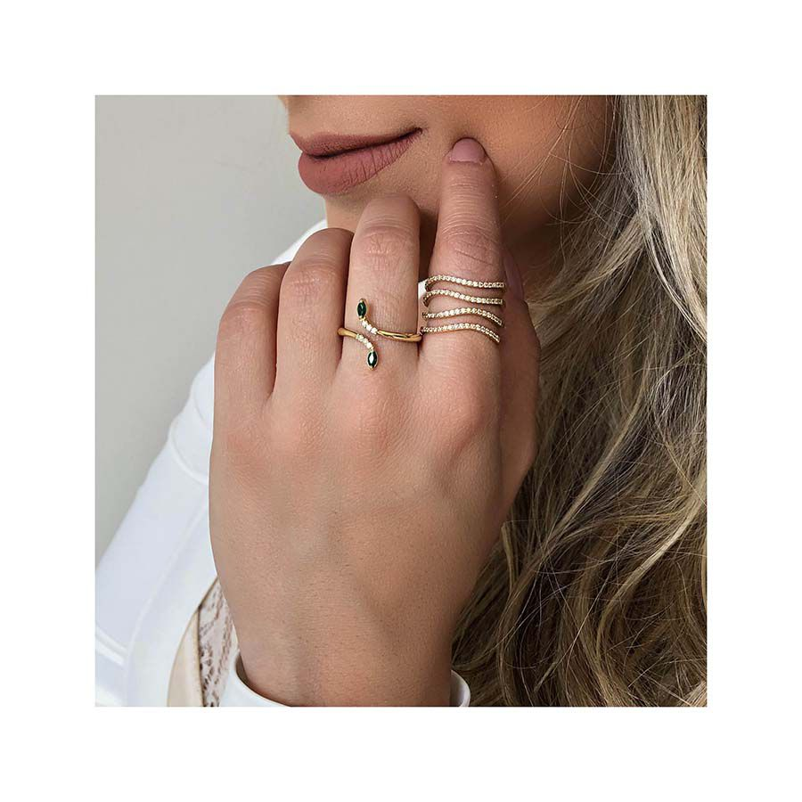 Anel Ouro 18k com Diamantes e Navete de Esmeralda  - YVES